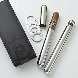 3-Piece Cigar Holder, Cutter and Flask Holder Set in Black