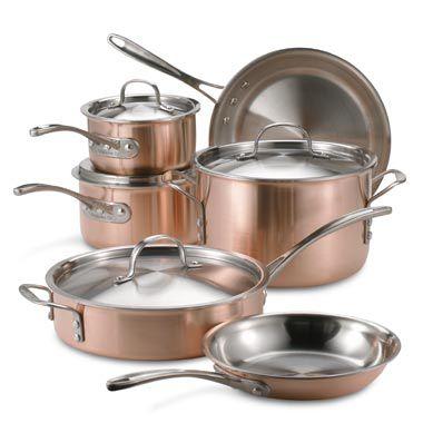 Calphalon 174 Tri Ply Copper 10 Piece Cookware Set Bed Bath