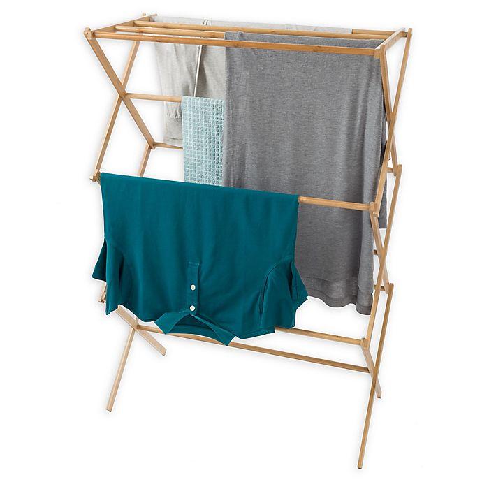 Alternate image 1 for Lavish Home Bamboo Folding Laundry Drying Rack