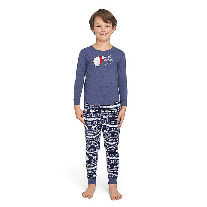 Alternate image 1 for ED Ellen DeGeneres Polar Bear Small Child Holiday Pajama Set in Navy