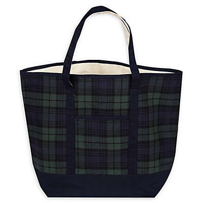 Large Plaid Tote Bag in Blue/Green
