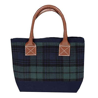 Small Plaid Tote Bag in Blue/Green