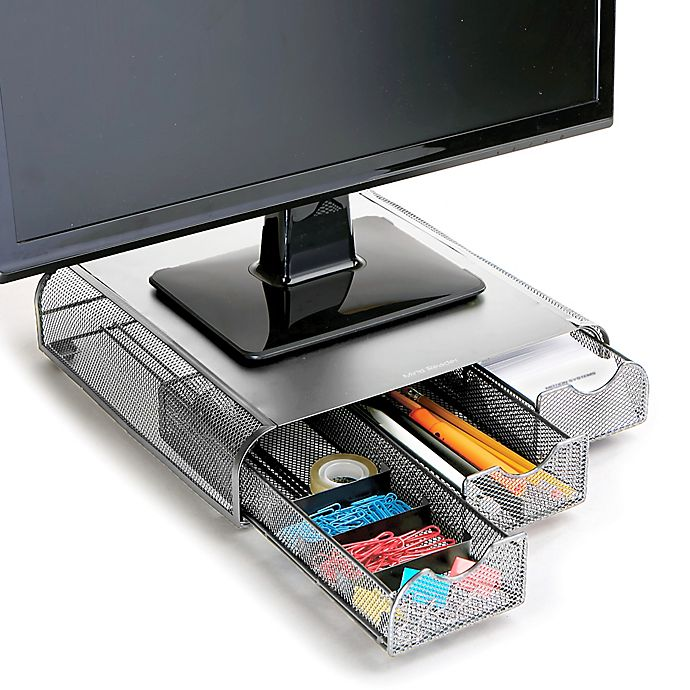 Alternate image 1 for Mind Reader Mesh Monitor Stand and Desk Organizer in Silver