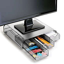 Mind Reader Mesh Monitor Stand and Desk Organizer in Silver