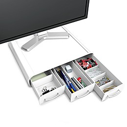 Mind Reader Mesh Monitor Stand and Desk Organizer in White