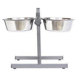Iconic Pet Adjustable Double Diner Pet Feeding Bowls in Metallic