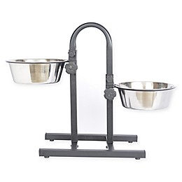 Iconic Pet Dual Adjustable Double Diner Pet Feeding Bowls in Metallic