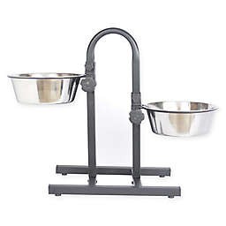 ICONIC PET 12-Cup Dual Bowl Adjustable Double Diner in Metallic