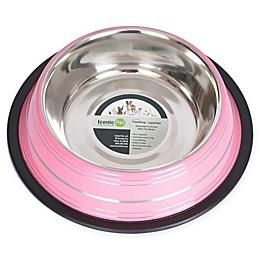 Iconic Pet Striped Non-Skid Pet Bowls (Set of 2)