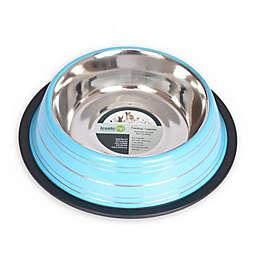 ICONIC PET Color Splash Stripe Non-Skid 4-Cup Pet Bowl in Blue