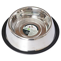 Iconic Pet Metallic Non-Skid Pet Bowls in Stainless Steel (Set of 2)