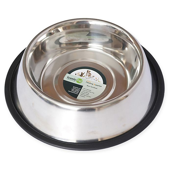 Alternate image 1 for Iconic Pet Metallic Non-Skid 3-Cup Pet Bowls in Stainless Steel (Set of 2)