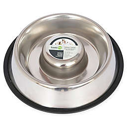 ICONIC PET Slow Feed Pet Bowls in Stainless Steel (Set of 2)