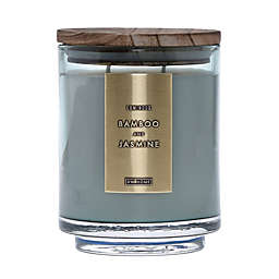 DW Home Bamboo and Jasmine Wood-Accent 19 oz. Jar Candle in Green