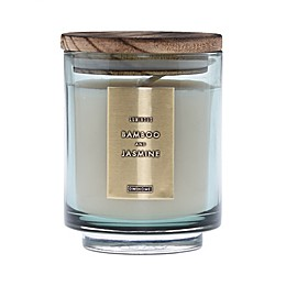 DW Home Bamboo and Jasmine Wood-Accent 10 oz. Jar Candle in Green