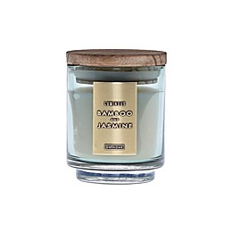 DW Home Bamboo and Jasmine Wood-Accent 4 oz. Jar Candle in Green