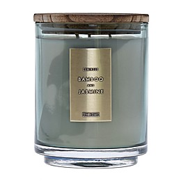 DW Home Bamboo and Jasmine Wood-Accent 29 oz. 3-Wick Jar Candle in Green
