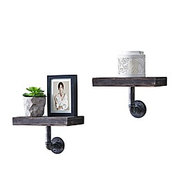 Danya B. 12-Inch x 7-Inch Floating Pipe Industrial Wall Mount Shelves (Set of 2)