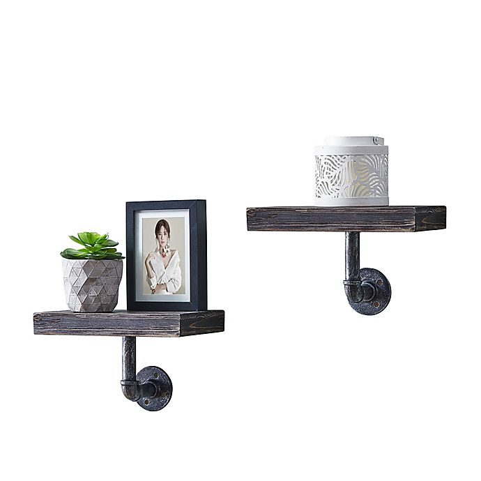 Alternate image 1 for Danya B. 12-Inch x 7-Inch Floating Pipe Industrial Wall Mount Shelves (Set of 2)