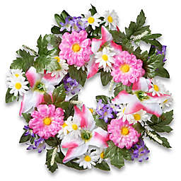 National Tree Company 18-Inch Artificial Daisy and Tiger Lily Wreath in Pink