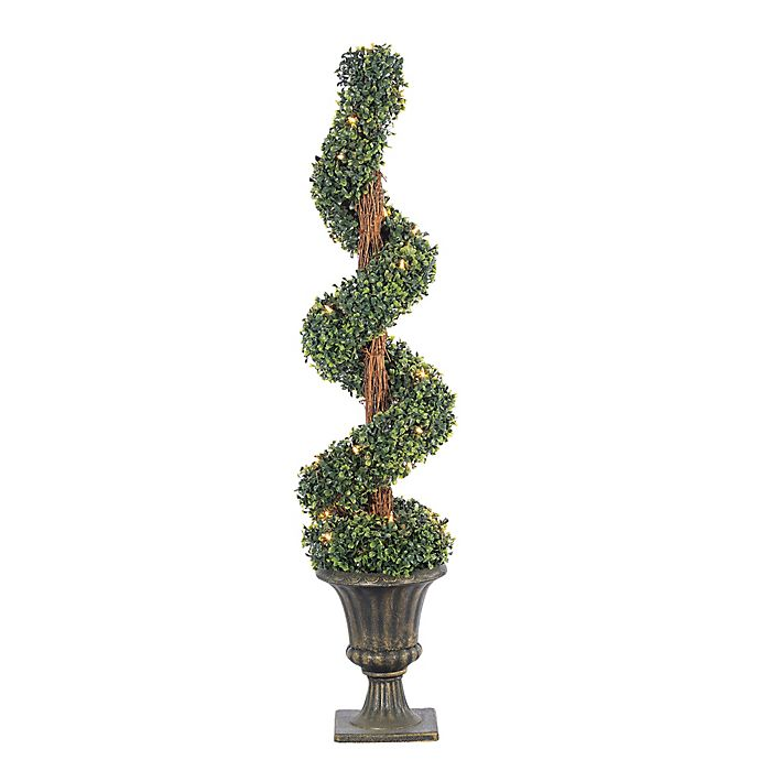 Sterling Boxwood Spiral 4-Foot Pre-Lit Potted Artificial Christmas Tree