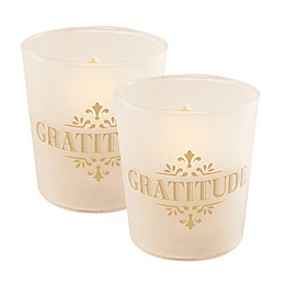 Battery Operated Wax Candles Filled in Gold Gratitude Glass with Timer (Set of 2)