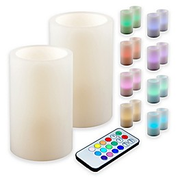 Multi Color Battery Operated Wax Candles with Remote Control (Set of 2)