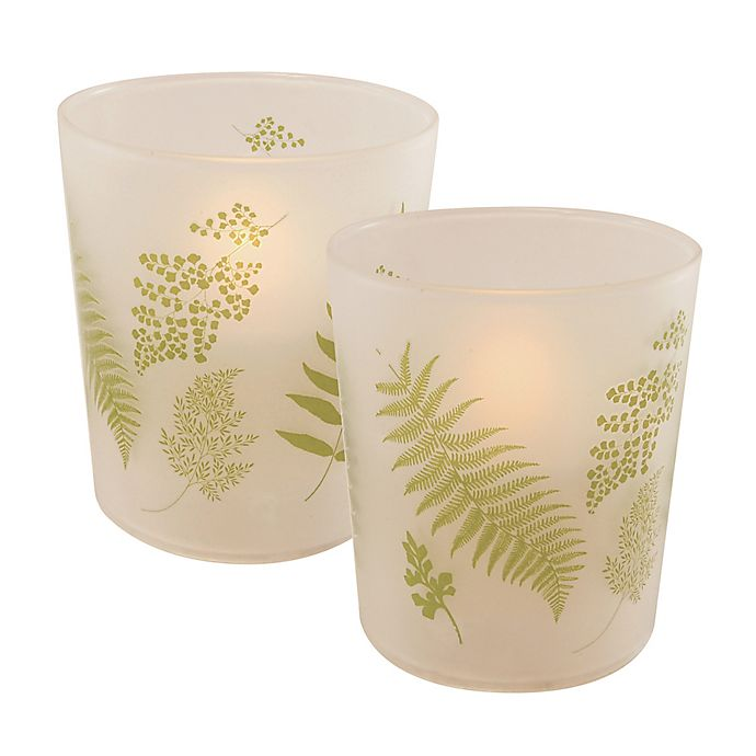 Alternate image 1 for Battery Operated Wax Candles Filled in Green Fern Glass with Timer (Set of 2)