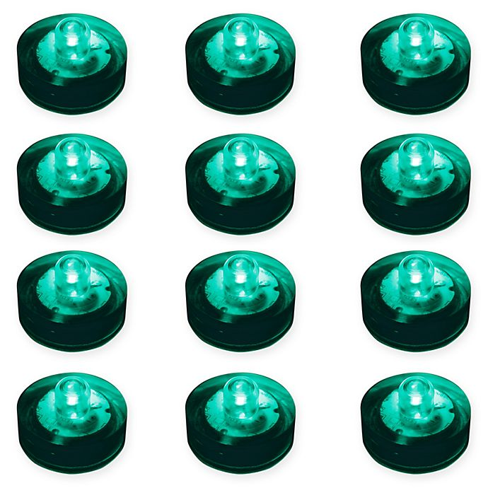 Alternate image 1 for LumaBase® 12-Count Submersible LED Tea Light Candles in Teal