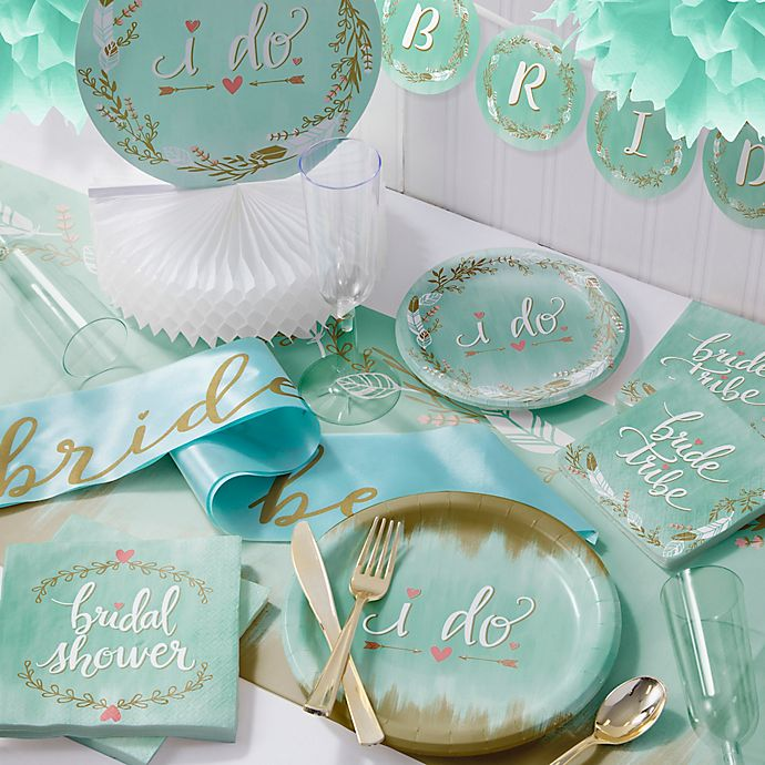 Alternate image 1 for Creative Converting 246-Piece Mint To Be Bridal Shower Party Kit