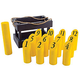 Hey! Play! 12-Piece Wooden Throwing Game in Blue/Yellow