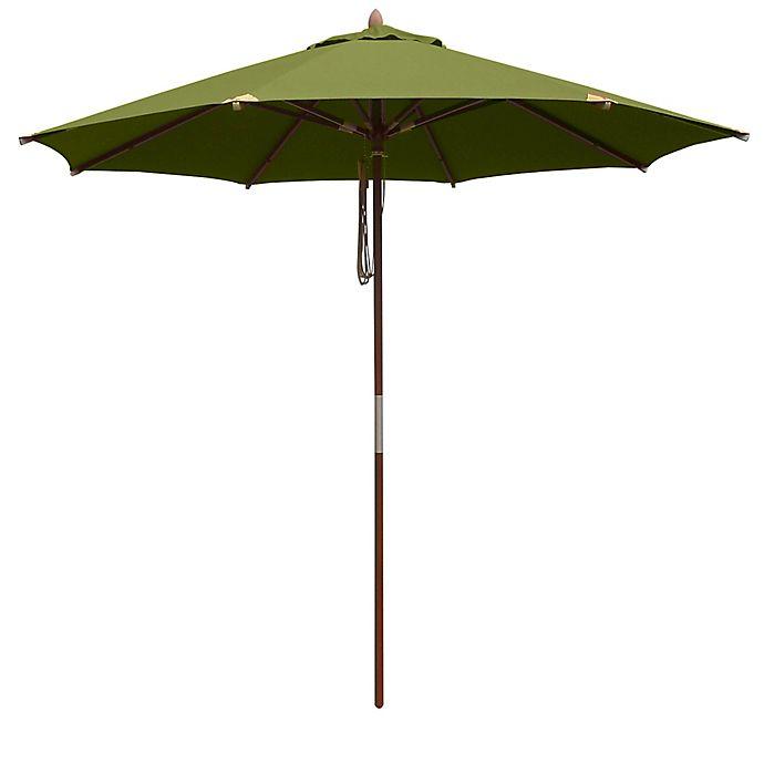 Alternate image 1 for 10-Foot Round Deluxe Eucalyptus Wood Patio Umbrella
