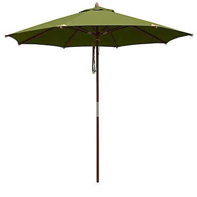 10-Foot Round Deluxe Eucalyptus Wood Patio Umbrella