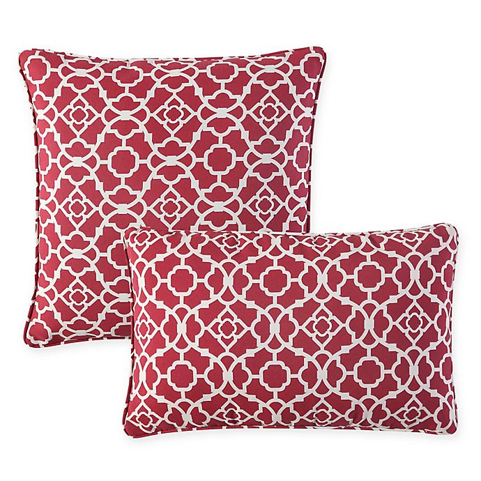 Alternate image 1 for Waverly® Lexie Outdoor Throw Pillow in Red
