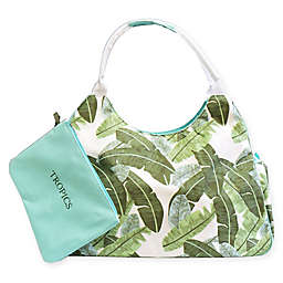 Palm Leaf Print Jumbo Insulated Beach Tote