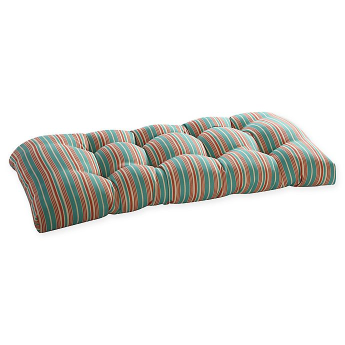 Alternate image 1 for Waverly Lexie Outdoor Bench Cushion in Blue/Red
