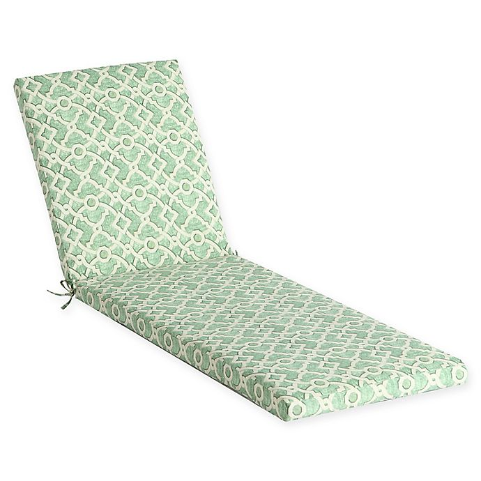 Alternate image 1 for Waverly Lexie Geometric Outdoor Chaise Lounge Cushion in Green