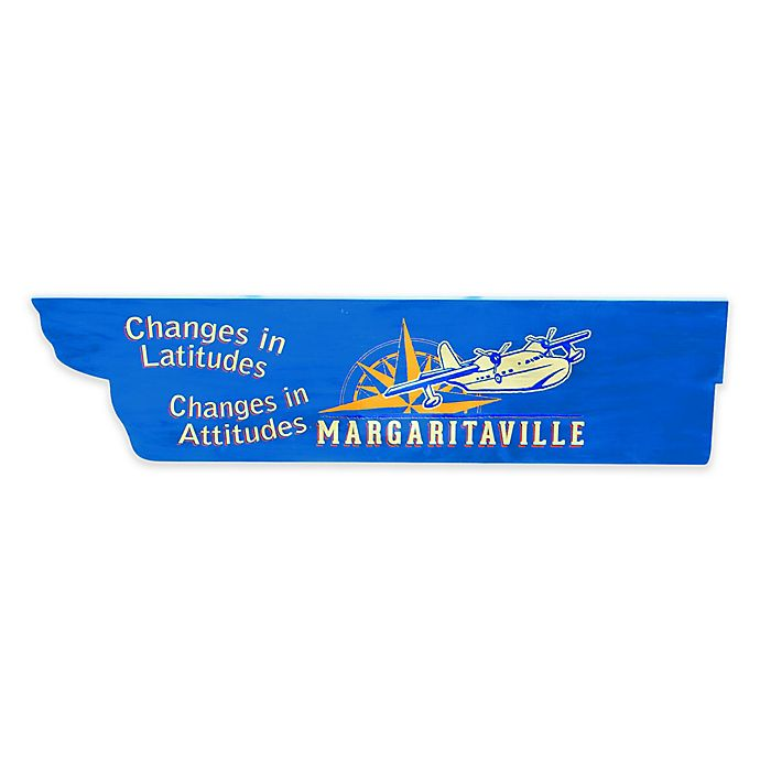 Alternate image 1 for Margaritaville® Lattitude Directional Outdoor Wall Sign in Blue/Yellow