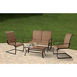 4 Piece Sling Seating Set In Brown