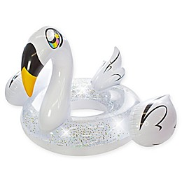 Poolcandy Glitter Swan Pool Float in White/Gold