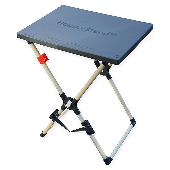 Alternate image 1 for HopperStand™ Indoor/Outdoor Utility Table and Bag Holder in White/Grey