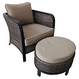 2-Piece Cuddle Chair and Ottoman Set in Brown/Dark Brown