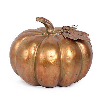 Polyresin Pumpkin Decorative Accent in Gold