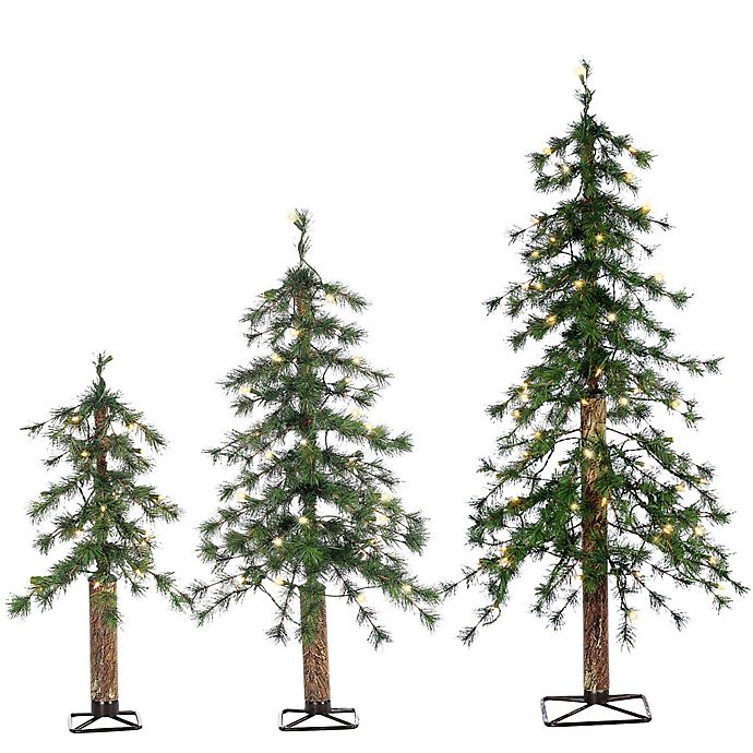 Pre-Lit Alpine Artificial Christmas Trees (Set of 3) | Bed ...