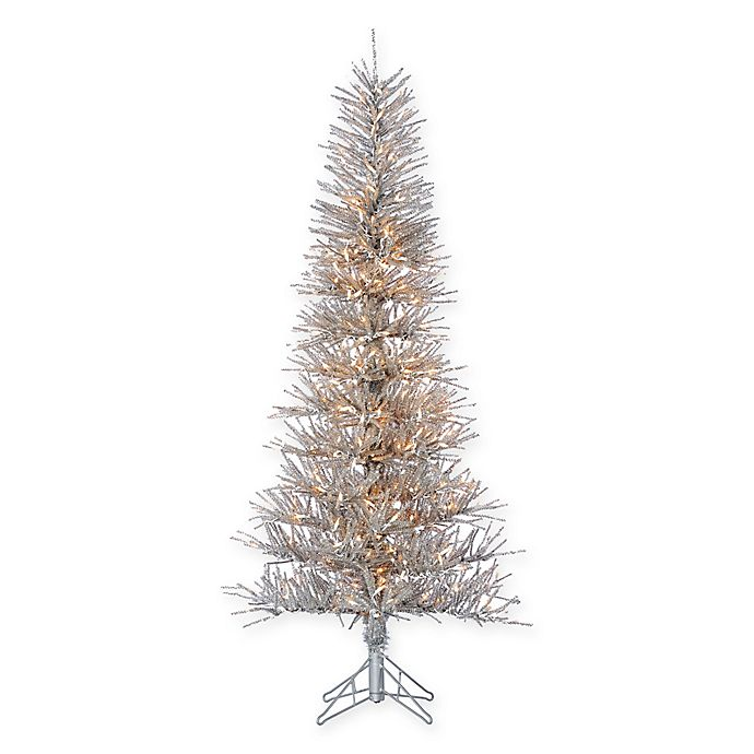 pretty nice 85af7 40949 Sterling 6-Foot Pre-Lit Tinsel Twig Christmas Tree in Silver ...