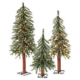 Pre-Lit Alpine Artificial Christmas Trees (Set of 3)