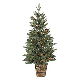 4-Foot Pre-Lit Potted Riverton Pine Artificial Christmas Tree