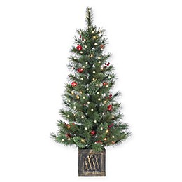 4-Foot Pre-Lit Potted Cashmere Pine Artificial Christmas Tree