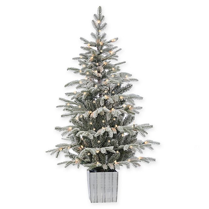 4.5-Foot Pre-Lit Potted Flocked Iceland Fir Artificial ...