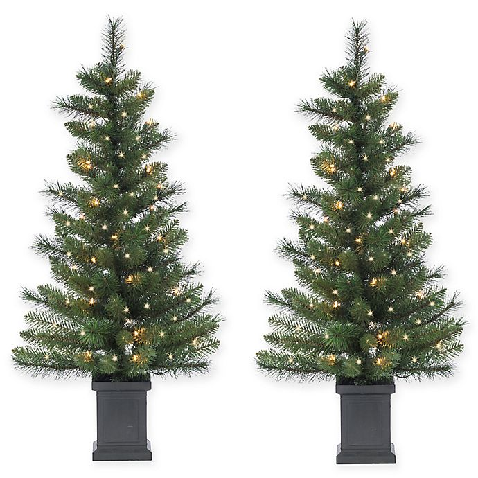 3.5-Foot Pre-Lit Potted Sycamore Spruce Artificial ...